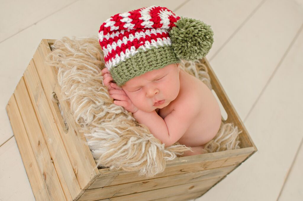 Ho Ho Ho Striped Christmas with Green Pom Pom Baby Hat