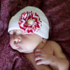Red and White Chevron Flower White Nursery Beanie for Newborn Girls