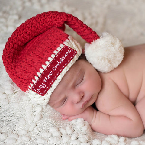My First Christmas Santa Stocking Baby Hat for Boys or Girls - Christmas Hat