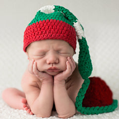 Red Green and White Striped Christmas Stocking Hat with Pom Pom icon