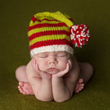 Knit Christmas Striped Stocking Beanie with Pom Pom - Green and Red- Gender Neutral