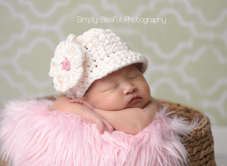 Precious Cream Flower Visor Beanie for Baby and Toddler Girls