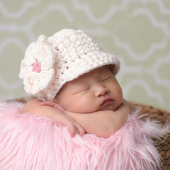 Precious Cream Flower Visor Beanie for Baby and Toddler Girls icon