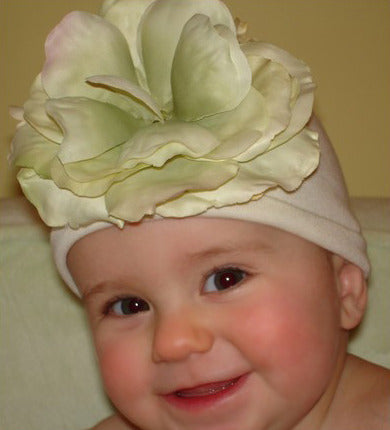Creamsicle Beanie Baby Hat with Cream and Green Flower