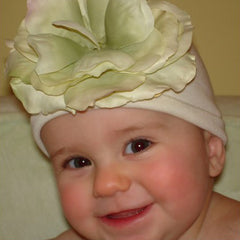 Creamsicle Beanie Baby Hat with Cream and Green Flower icon