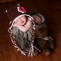 Crochet Baby Bear Hat with Flower icon