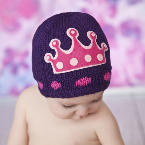 Zooni Purple Princess Crown Baby Beanie Hat - FULLY JERSEY LINED