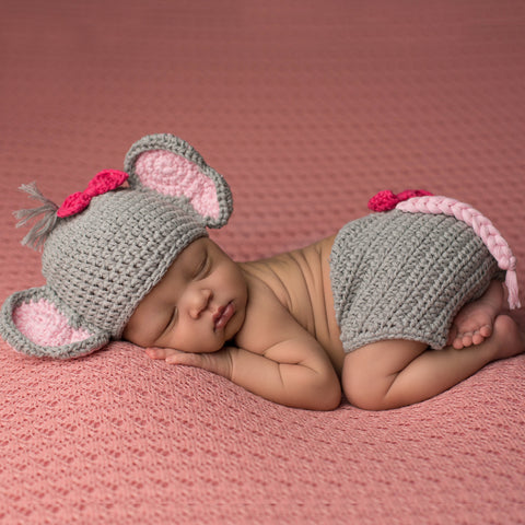 Bows and Elephants Hat and Diaper Cover Set for Newborn Girls
