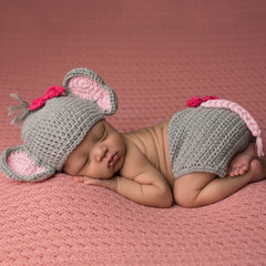 Bows and Elephants Hat and Diaper Cover Set for Newborn Girls icon