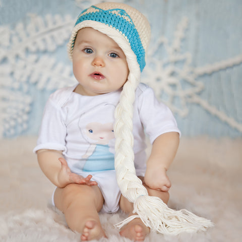 Baby Ice Queen White Hair Pony Tail Hat