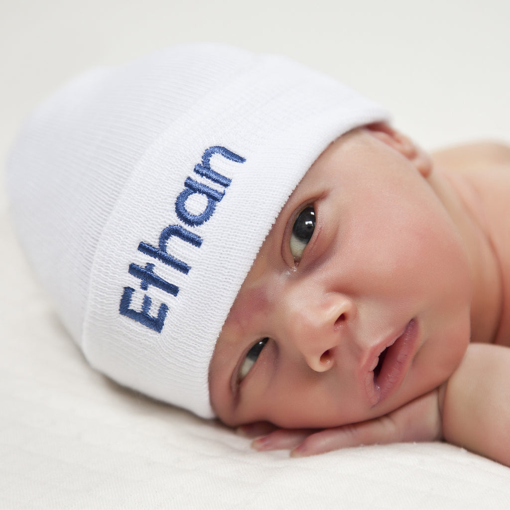 White Personalized Newborn BOY hospital baby hat with BABY Blue Lettering
