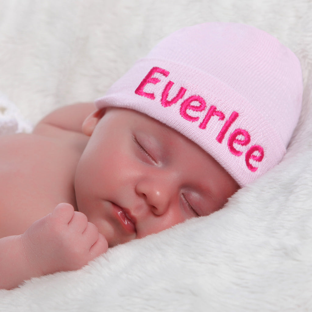 Solid Pink Personalized Newborn GIRL hospital hat with PINK Letters