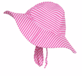 Preppy Bright Pink and White Striped Wide Brim Baby Girl Sun Hat -PERSONALIZED Option