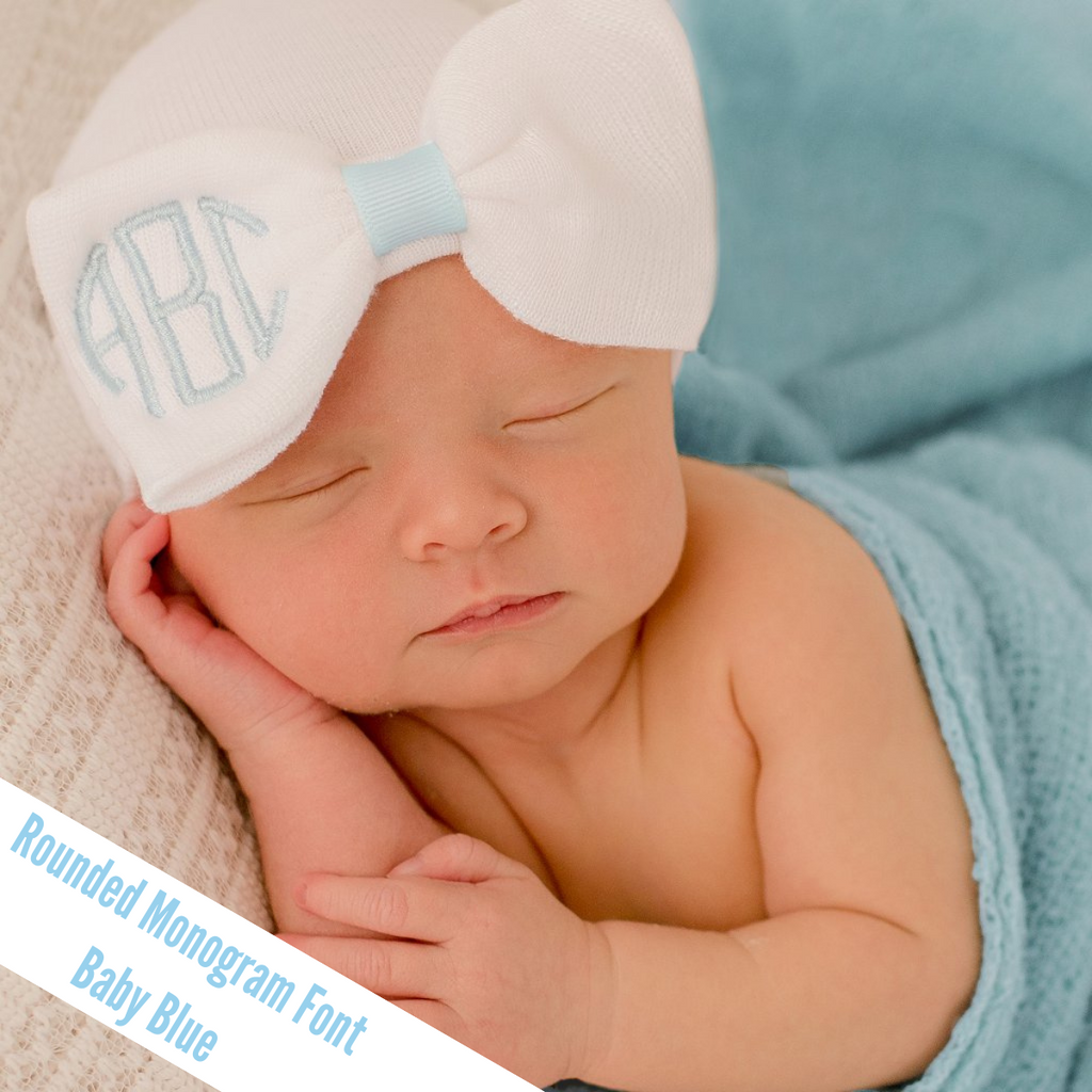 Monogrammed White Bow Newborn Girl Hospital Hat - Match Monogram Color to Center Ribbon - Newborn Girl Hospital Hat