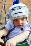 Baby Boy Blue Sock Monkey Hat