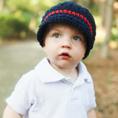 Navy and Red Chunky Yarn Visor Beanie for Baby Boys icon