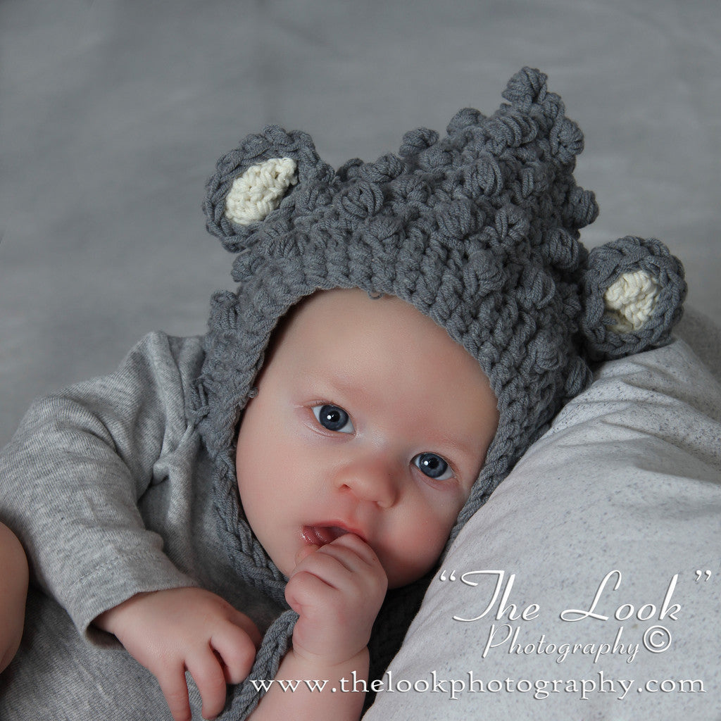 Cuddly Little Mouse Baby Hat - Soft Gray