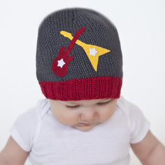 Zooni Dueling Guitars Baby Boy Beanie Hat - Matching Mittens Available icon