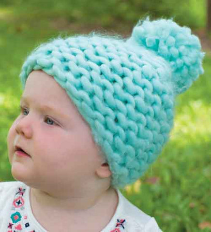 Mint Green Thick Knit and Lined Pom Pom Beanie for Baby Girls