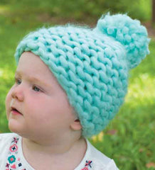 Mint Green Thick Knit and Lined Pom Pom Beanie for Baby Girls icon