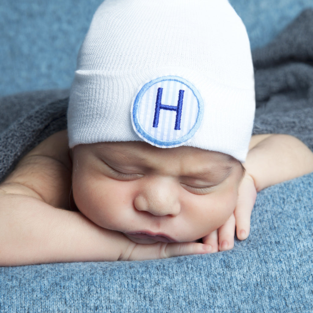 Blue and White Seersucker PATCH First Initial Newborn Boy Hospital Hat