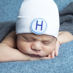 Blue and White Seersucker PATCH First Initial Newborn Boy Hospital Hat icon