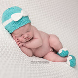 Blue Bow Beanie and Bow Booties Set