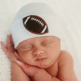 Chenille Football Patch White (or Blue) Newborn Boy Hospital Hat