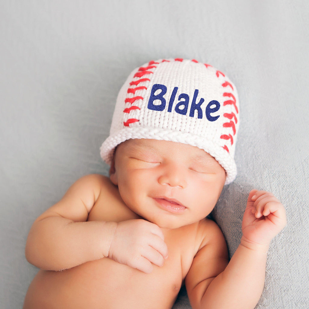 Baby Baseball Personalized Knit Baby Boy Beanie  - Baby Boy Newborn Hat