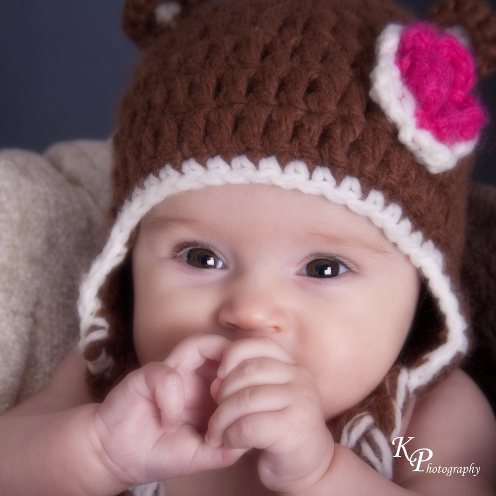 Crochet Baby Bear Hat with Flower