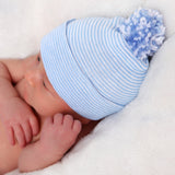 PERSONALIZED Striped Baby Blue Pom Pom Newborn Boy Hospital Hat