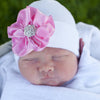 White Nursery Beanie with Jeweled Pink Silk Flower for Newborn Girls