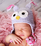 I'm a Hoot Baby Owl Hat - Girl Lavender