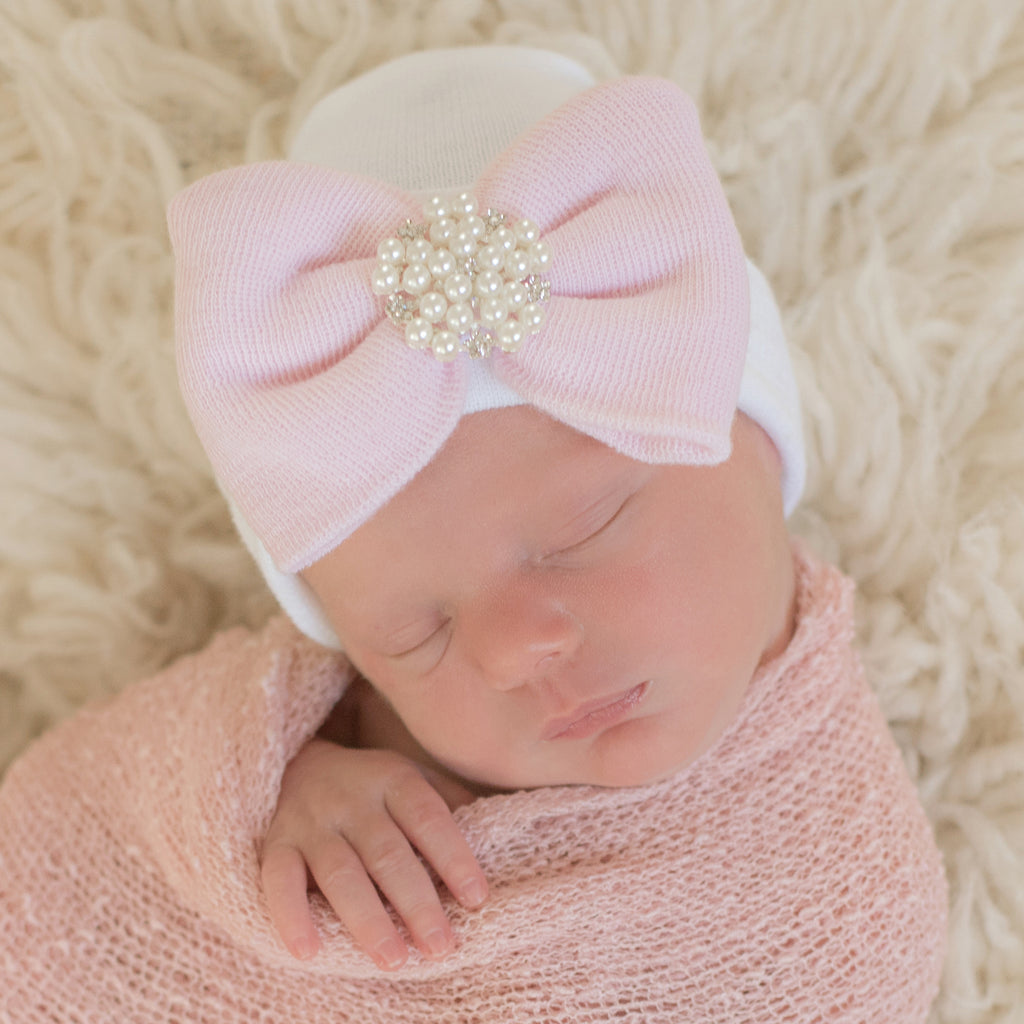 Patsy Pearl Vintage Rhinestone White Hospital Hat and Pink Bow Newborn Girl Hospital Hat