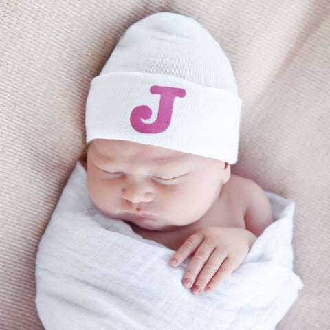 White Hat with Bubble Pink Initial Letter Newborn Girl Hospital Hat