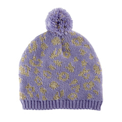 Purple Leopard Intarsia Knit Pom Pom Beanie Toddler Girls - Fully Fleece Lined icon