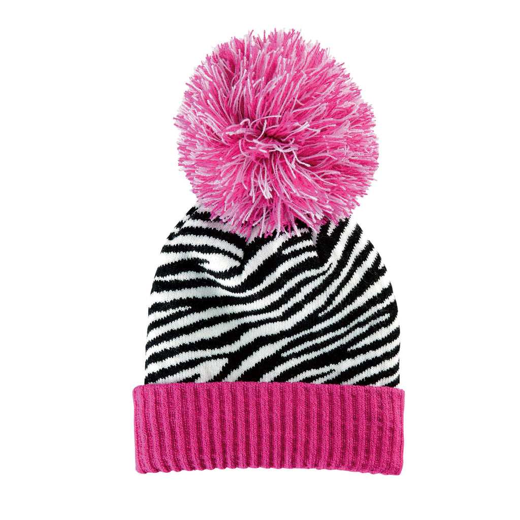 Hot Pink Zebra Pom Pom Girl's Winter Hat - Slouchy Beanie