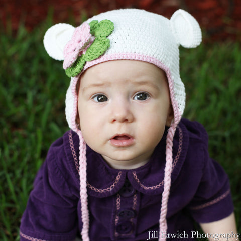 Organic White Crochet Baby Bear with Flower Animal Hat