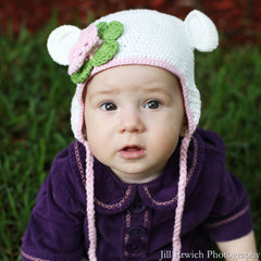 Organic White Crochet Baby Bear with Flower Animal Hat icon