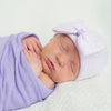 Lavender Striped with Bow Baby Girl Newborn Hospital Hat