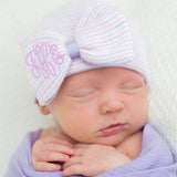 Lavender and Pink Striped Hospital Hat with PURPLE Center and Monogrammed Initials Nursery Newborn GIRL hospital hat