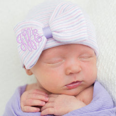 Lavender and Pink Striped Hospital Hat with PURPLE Center and Monogrammed Initials Nursery Newborn GIRL hospital hat icon