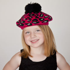 Bright Pink Leopard Print Beret with Pom Pom - Girls - 5-7 Years icon