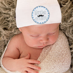 Little Man Mustache Patch  Newborn Boy Hospital Hat - White or Blue Hat icon