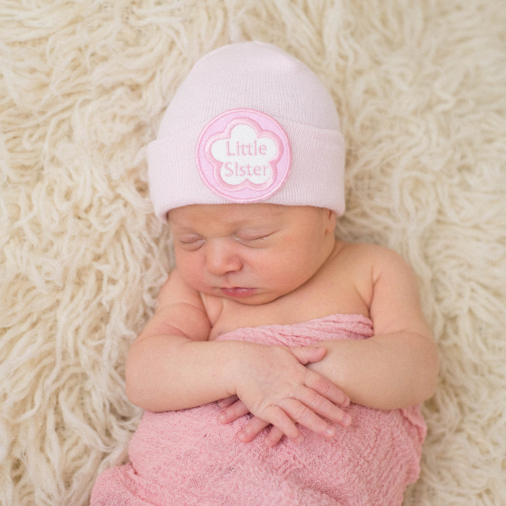 Little Sister Pink Newborn Girl Hospital Hat