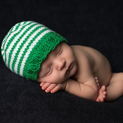 Lucky Green Striped Baby Boy Beanie icon