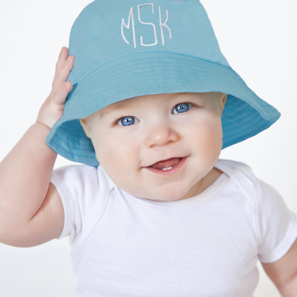 Blue Monogrammed Boy Sun Hat for Baby and Toddler Boys - Choice of thread colors
