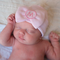 Pink and White Seersucker Initial Patch Pink Big Bow Newborn Girl Hospital Hat icon