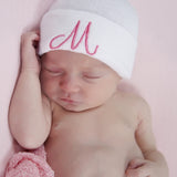 Sweet Heart Font PINK INITIAL Solid white Personalized Newborn GIRL hospital hat with PINK Letters