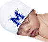 White Hat with Royal Blue Collegiate Letter Initial Newborn Boy Hospital Hat